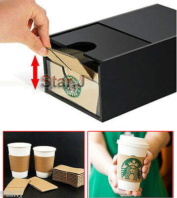 Paper Cup Sleeve Holder Dispenser Organizer Box Coffee Drink Cafe Hot Beverage
