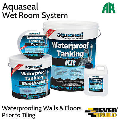 Everbuild Aquaseal Tanking Kit | Wet Room System | Waterproof Kit | Two Sizes