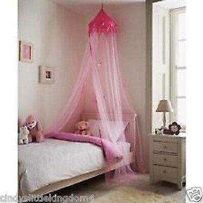 Large Childrens Pink Canopy Bedroom Princess Crown Style Large  Hanging Bed