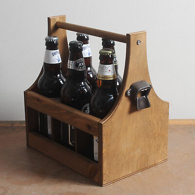 Vintage Wooden Beer Ale Carrier 6 x Bottle Drinks Holder + Bottle Opener - BC-01