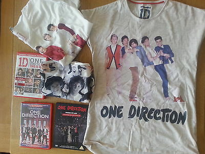marks and spencers age size 13 - 14 one direction top t shirt x 3 plus 3 dvds