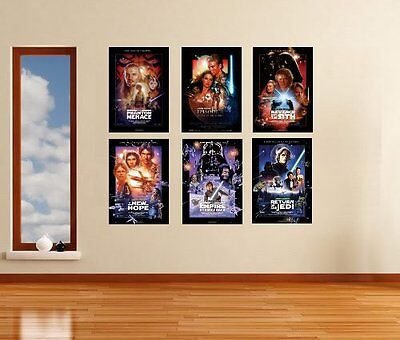 Star Wars Movies I - VI Poster Art Print Set - All 6 in A3 or A4