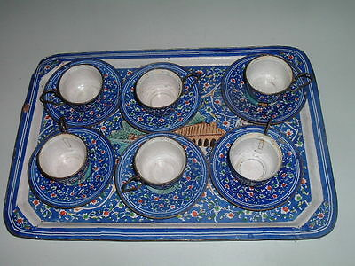 Antique Turkish Greek 6 Coffee Cups Saucers Set On Tray Enamel Over Copper