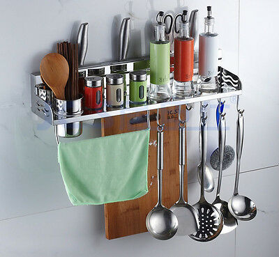 Wall Mount Kitchen Tools Shelves Spoon Forks Storage Utensils Stand Rack Hooks