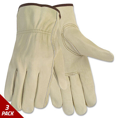 Memphis Economy Leather Driver Gloves Large Beige Pair [3 PACK]