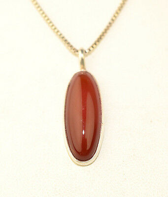 Sterling Silver Carnelian Narrow Oval Pendant On 18 Inch Box Chain Necklace
