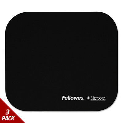 Fellowes Mouse Pad w/Microban Nonskid Base 9 x 8 Black [3 PACK]
