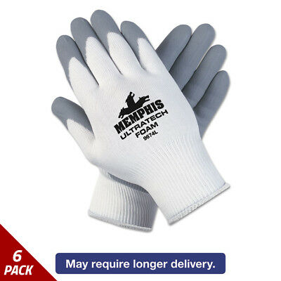 Memphis Ultra Tech Foam Seamless Nylon Knit Gloves Large White/Gry 12ct [6 PACK]
