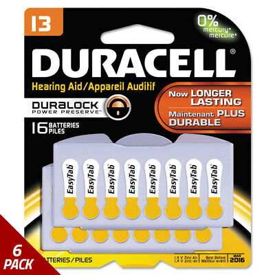 Duracell Button Cell Hearing Aid Battery13 16/Pk [6 PACK]