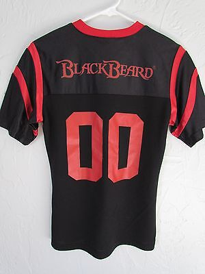 Blackbeard Spiced Rum Red And Black Woman's Football Jersey Size Small Rare Euc!