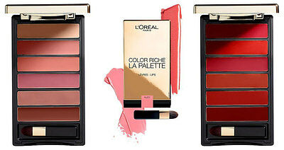 L'OREAL 'Colour Riche Lip Palette' 6 Cream Lipsticks NUDE RED GLAM Matte & Satin