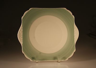 """Shelley """"Aqua Green Rings"""" Double Handled Square Cake Plate, Made In England"""