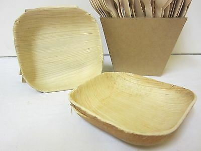 "600 Pack BULK BUY SQUARE PALM LEAF BOWL SAUCE DIP BOWL WOODEN 10cm - 4""x 4"""
