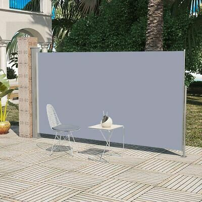 New Patio Retractable Side Awning 180 x 300 cm Grey 100% Polyester Steel