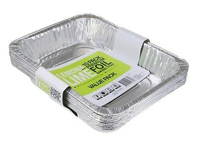 20 PACK  HEAVY DUTY ALUMINIUM FOIL TRAYS RECTANGLE BBQ CATERING 32cmx26cm