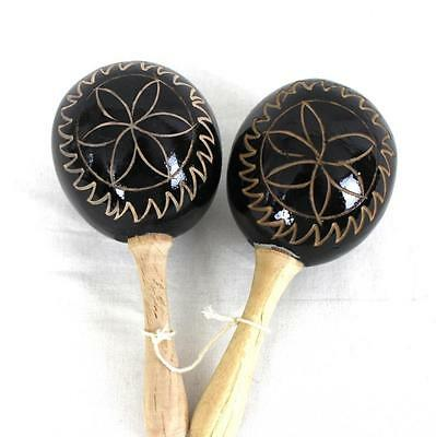 Maracas Percussion Musical Instrument Party Costume Wood Handmade Shakers Black