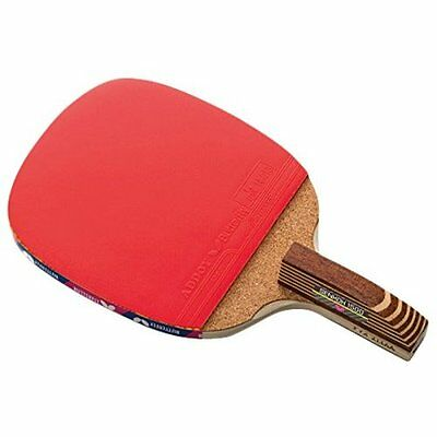 Butterfly Senkoh 1500 Penhold Table Tennis Racket with Rubber and Brown Handle.