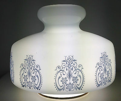 White Glass Ceiling Roof Light Shade 1970's Vintage Retro Eames Blue Filigree