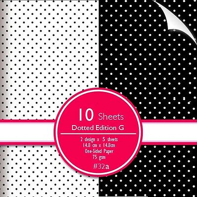 Scrapbook woodfree Paper Polka Dot Black & White Pattern 10 sheets 14.8x14.8 cm