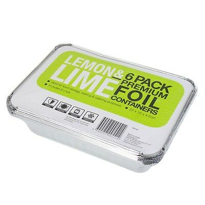 BULK BUY- 72 PACK  ALUMINIUM FOIL CONTAINERS WITH LIDS BBQ CATERING 22cmx15cm