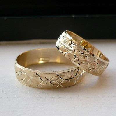 new arrrival! 10K SOLID GOLD HIS & HER WEDDING BAND RING SET 6-14 free engraving