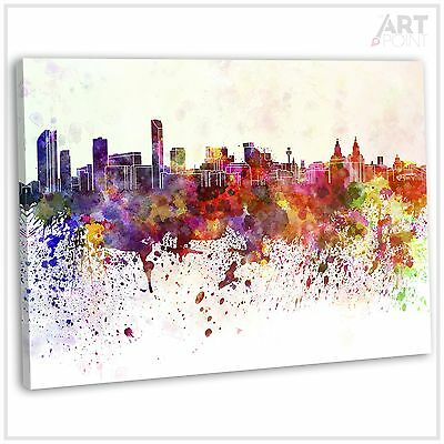 Liverpool Skyline Abstract Watercolour Canvas Print Framed Wall Art Picture