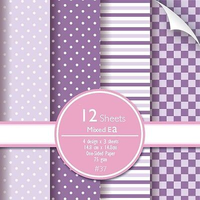 Scrapbook Paper Stripe Polka Square Tile Dot 12 sheets Purple Violet Lavender
