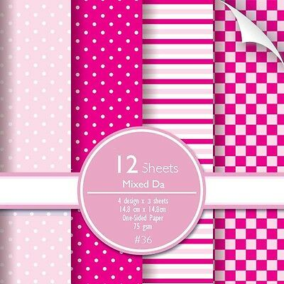 Scrapbook Paper Stripe Polka Square Tile Dot 12 sheets Pink Red Shocking Love