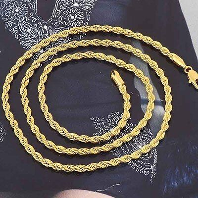 Twisted 18K Yellow Gold Filled Mens Unisex Classic Rope Chain Necklace