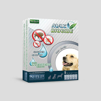 5 Dog Pipettes Max Biocide  anti parasites Flea tick and Mosquitoes Protection