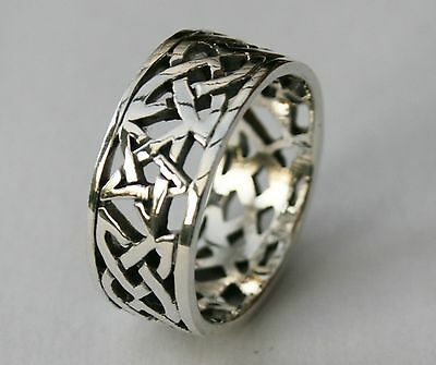 Mens Heavy 925 Sterling Silver British Hallmarked Celtic Ring Band 10mm wide