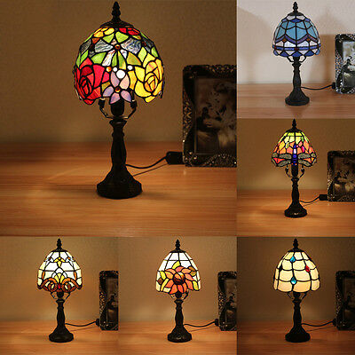 """6"""" NEW Tiffany Style Stained Glass Table Lamp Handmade Bronze-7 styles to pick"""