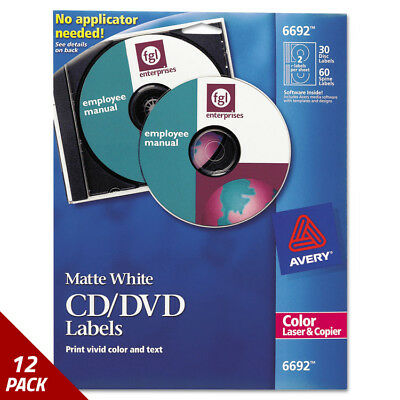 Avery Laser CD Labels Matte White 30ct [12 PACK