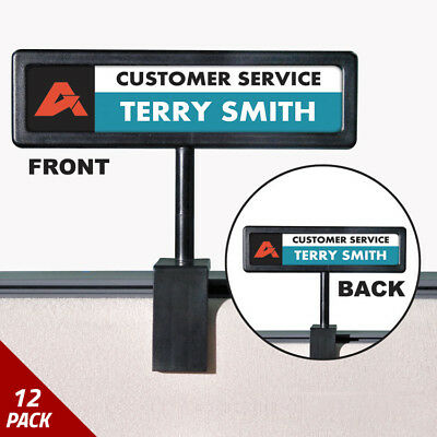 Advantus People Pointer Cubicle Sign Plastic 9 x 2 1/2 Black [12 PACK