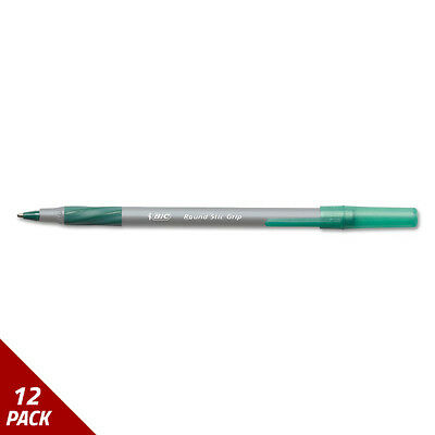 Round Stic Grip Xtra Comfort Ballpoint Pen Green Ink 1.2mm Med. 12ct [12 PACK
