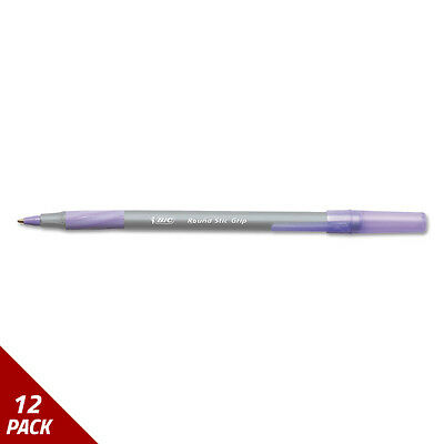 Round Stic Grip Xtra Comfort Ballpoint Pen Purple Ink 1.2mm Med. 12ct [12 PACK