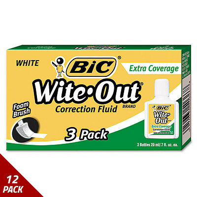BIC Wite-Out Extra Coverage Correction Fluid 20 ml Bottle White 3ct [12 PACK