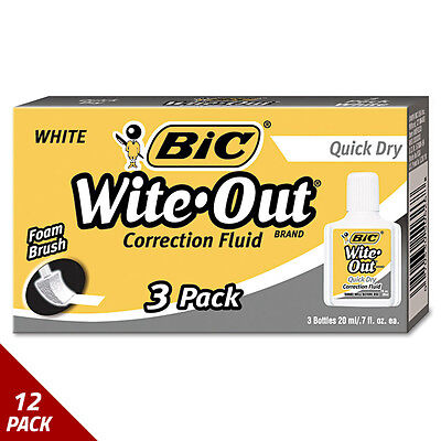 BIC Wite-Out Quick Dry Correction Fluid 20 ml Bottle White 3ct [12 PACK