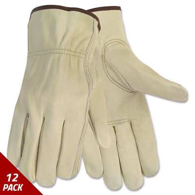 Memphis Economy Leather Driver Gloves Large Beige Pair [12 PACK