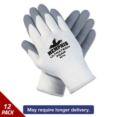 Memphis Ultra Tech Foam Seamless Nylon Knit Gloves Large White/Gry 12ct [12 PACK