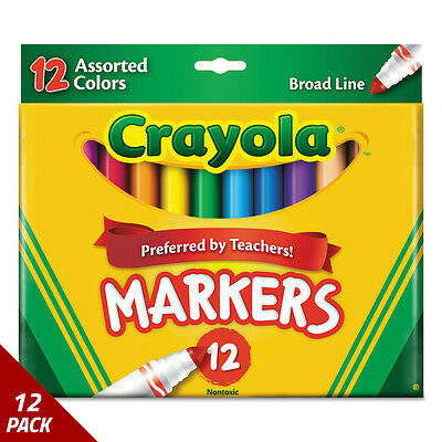 Crayola Non-Washable Markers Broad Point Assorted Colors 12/Set [12 PACK