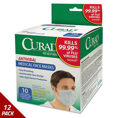 Curad Antiviral Medical Face Mask Pleated 10ct [6 PACK]