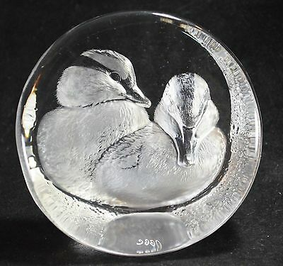 Signed Mats Jonasson Ducklings/Ducks 28% Lead Crystal Paperweight Made in Sweden
