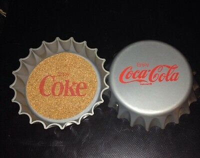 Vintage Enjoy Coca-Cola Bottle Cap Coasters Set of 2