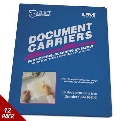 """PM Document Carrier for Copying Scanning Faxing 8 1/2""""x11"""" Clear 10ct [12 PACK"""