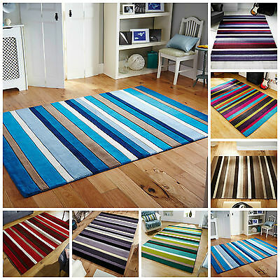 New High Quality 100% Wool Jazz Stripes Handmade Rugs Runners