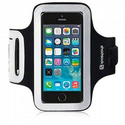 Shocksock Premium Sports Gym Fitness Armband for Apple iPhone 5, 5S, SE - Black