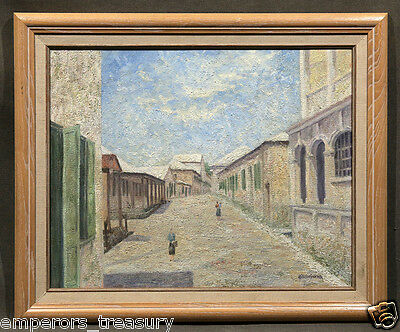 Early 20th Century Impressionistic Oil Painting Street Scene with Women