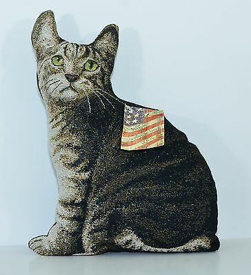 "MANUAL WOODWORKERS AND WEAVERS Jacquard WOVEN Cat PILLOW ""Kitty Corner"" Tapestry"