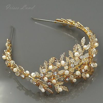 Crystal Freshwater Pearl Headband Headpiece Tiara Bridal Wedding Accessory 934 G